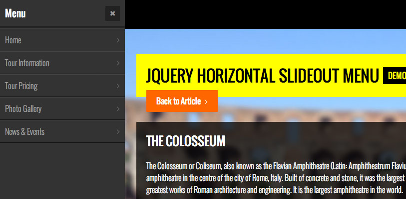 jQuery Horizontal Slideout Menu